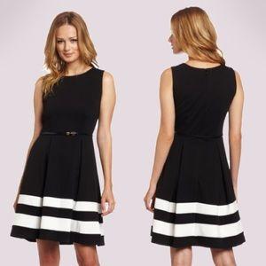 Calvin Klein A-Line Black and White Striped Dress